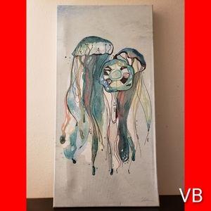 Coastal Hand Painted Jellyfish Canvas Wallart.